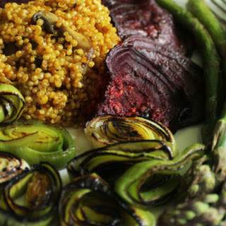 Seasoned Quinoa with Roasted Spring Veggies.