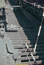 Photo: 078-04.  Closeup of grate over coal tower bin at the top of the coal loading ramp.   My measuring sticks at right give the proportions.  7/28/60.
