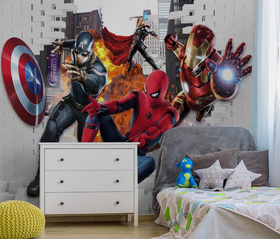 Фотообои с железным человеком, капитаном Америка и человеком-пауком в интерьере детской комнаты