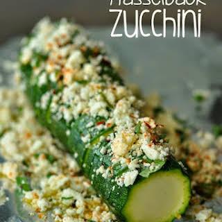 Hasselback Zucchini with Lemon, Basil, and Feta.