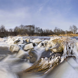 Winter river by Eugenijus Rauduve - Landscapes Waterscapes ( water, winter, ice, stones, river )