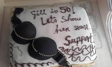 """5oth Birthday """"Bra"""" Support Cake."""
