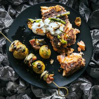 Grilled Salmon with Sumac Oil and Green Onion Yogurt