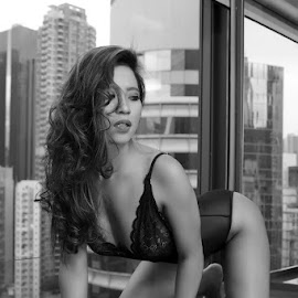 Chacha by ObjeKtiva Artphoto - Nudes & Boudoir Boudoir ( indonesian, lovely, lingerie, sensual, beauty, city, sexy, black, hong kong, hot, hotness, indonesia, boudoir, beautiful, gorgeous, chacha, monochrome, sensuality, boudoir photography, model, window, black and white, sweet, jakarta )