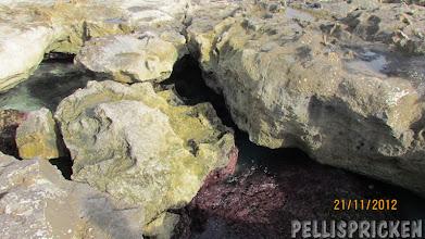 Photo: På vissa ställen kluckar havet i ett hål i bergsgrunden