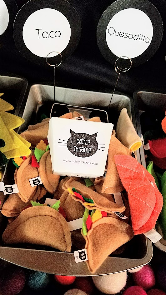 Catnip toys in the form of little food at the Catnip Takeout booth as part of the vibe of the Portland Night Market, held every few months in the Central Industrial District in a warehouse, during the November 2016 market