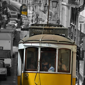 yellow day by Sorin Rizu - City,  Street & Park  Street Scenes ( center, street, tram, yellow, hotel, lisboa )