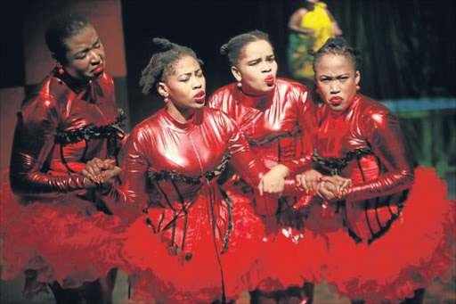 FINDING A WAY THROUGH: 'She Bellows' cast members Leorna Moya, Mbali Ka Ngwenya, Boitumelo Modise and Kgaogelo Monama at the National Arts Festival Picture: SINO MAJANGAZA