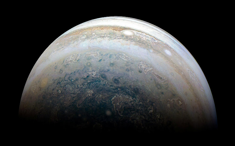 Nasa's Juno spacecraft captures Jupiter's southern hemisphere as the spacecraft performs its 13th close flyby of the planet.