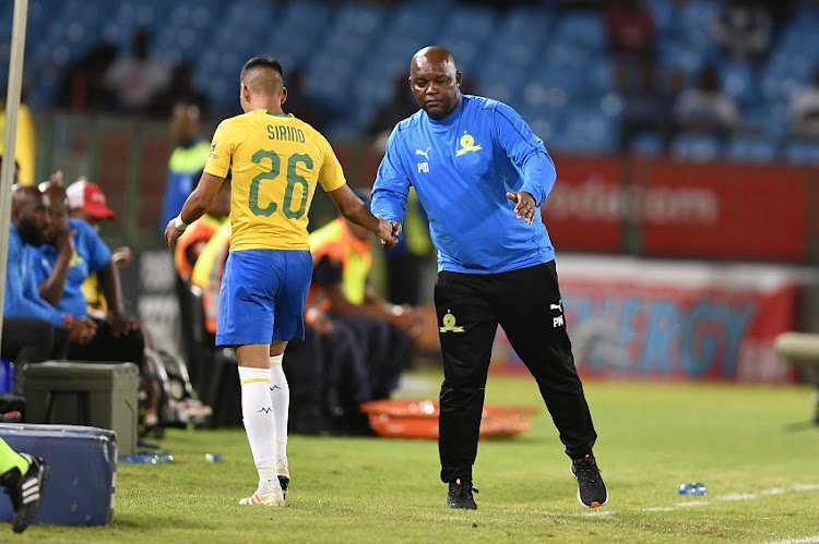 Pitso Mosimane and Gaston Sirino during the Absa Premiership match between Mamelodi Sundowns and Cape Town City FC at Loftus Versfeld Stadium on February 27, 2019 in Pretoria, South Africa.
