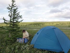 Photo: Стоянка после болота. Чем выше в горы - тем болотистее. Сильный ветер, палатку поставили на растяжки, но тент ночью все равно сорвало.
