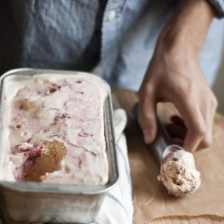 Strawberry-Vanilla Swirled Ice Cream.