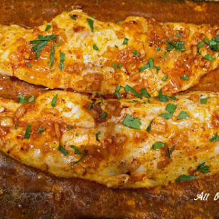 Spicy Baked Sea Trout with Lemon Sauce.