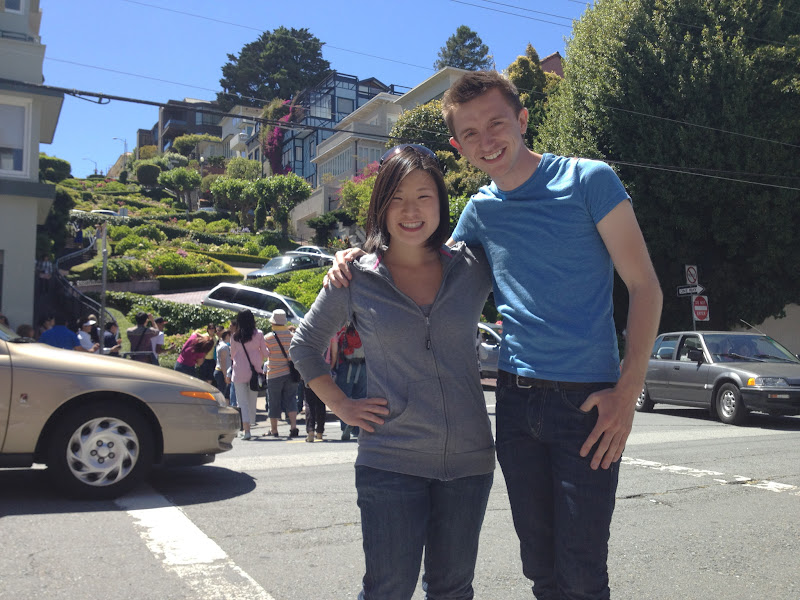 Photo: At the bottom of Lombard Street - San Francisco's street with the most bends