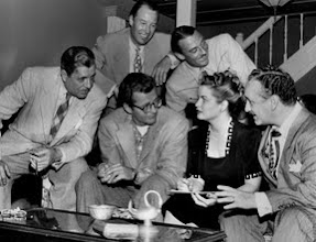 Photo: Malibu Remuda Warner Baxter, Robert Walker, Radio Writer Beth Barnes, Radio Producer Lou Holzer; background, Wild Bill Elliott and Jimmy Wallington