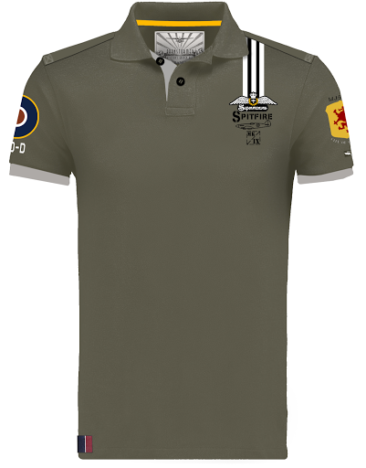 spitfire  clostermann avion warbird barnstormer polo shirt kaki made in france