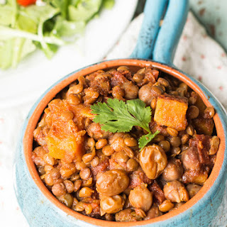 Slow Cooker Chickpea and Lentil Chili.