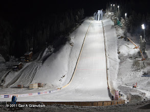 Photo: Vikersund HS225, the world's greatest ski flying hill, floodlit during test jumping before the first World Cup event, which was the first competition after the complete rebuilding in 2010-2011