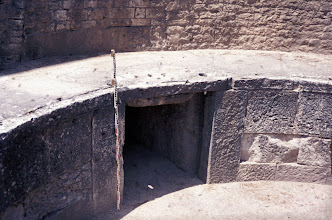Photo: The entrance for the water supply. Note the side groove(s) and the square openings on the top to shut the water supply