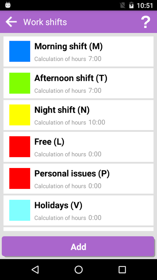 My Work Shifts- screenshot