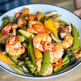 Prawns With Roasted Veggies, Garlic And Chili.