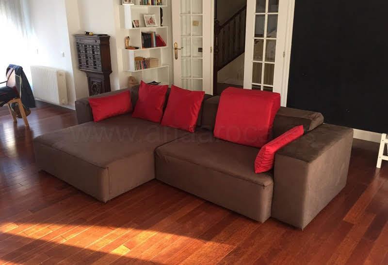Funda a medida para sofá chaiselongue con brazo corto