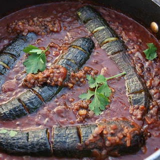 Hasselback Zucchini in Smoky Puy Lentil Stew.