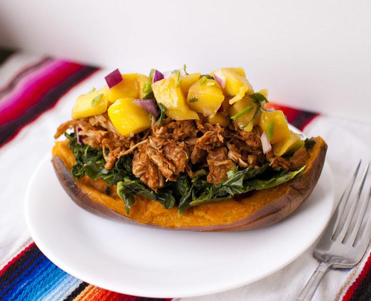Collard Green, BBQ Jackfruit and Mango Salsa Stuffed Sweet Potatoes Recipe