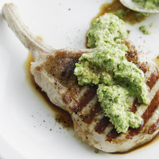 Grilled Pork Cutlets with Pea Chutney.