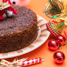 Merry Christmas by Kishore Bakshi - Food & Drink Plated Food ( plum, red, cake, baked, decorations, rum, christmas, home baked,  )