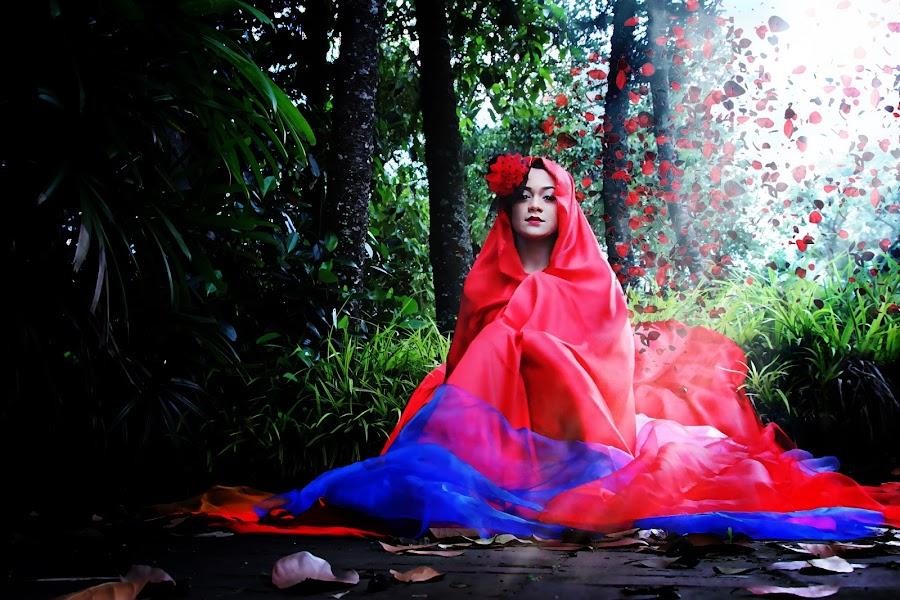 fade away by Ai Kenpachi - Digital Art People ( mystic, fashion, red, blue, woman, art, digital, manipulation )