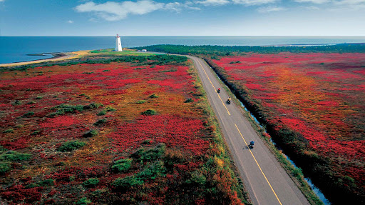 Visitors ride mopeds through a colorful fall landscape in Miscou Island, Canada, in the Gulf of St. Lawrence.
