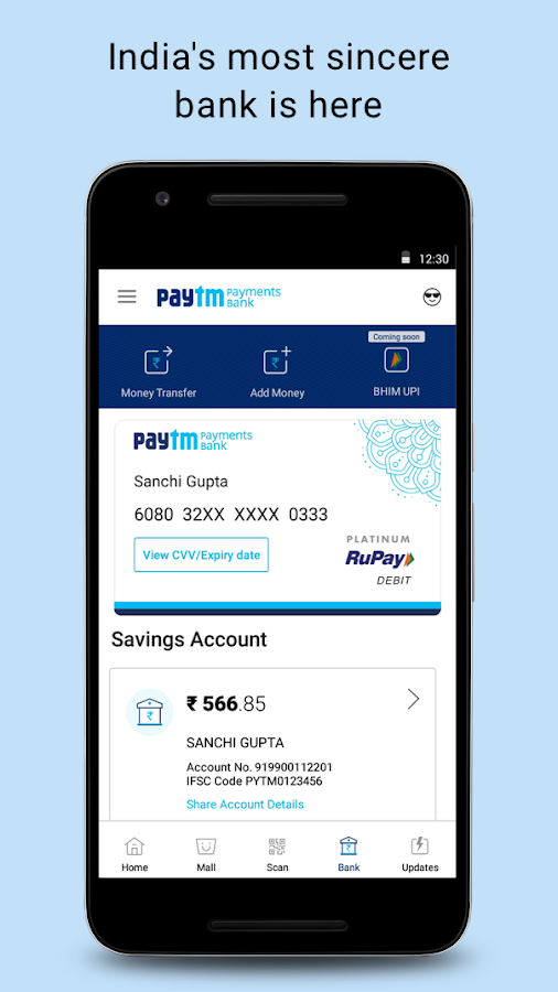 Screenshots of Recharge, Payments, QR Scanner, UPI, Bank Account for iPhone
