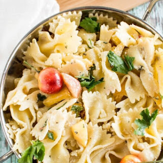 Summer Peach and Goat Cheese Pasta Salad Recipe