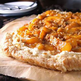 Peach Maple Mascarpone Dessert Pizza #SundaySupper Recipe