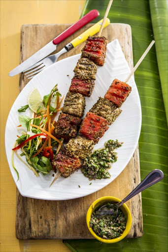 Seared tuna and watermelon kebabs with salsa verde.