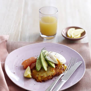 Rosti with Avocado, Smoked Salmon and Poached Eggs.