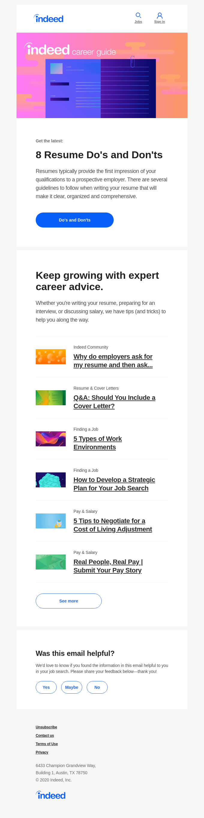 Indeed career guide email template