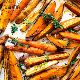 Roasted Sweet Potatoes And Parsnips With Honey Balsamic Glaze.