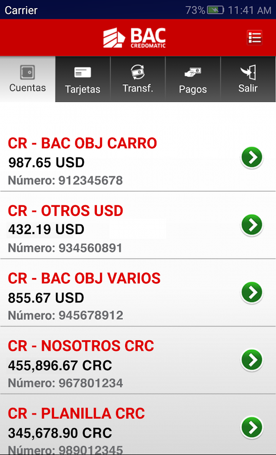 Banca Móvil BAC Credomatic- screenshot