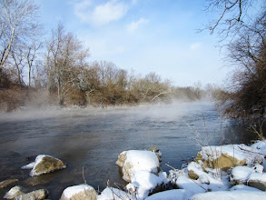 Photo: Mist rising from a winter river at Eastwood Park in Dayton, Ohio.