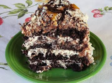 Chocolate-Caramel-Coconut Cake
