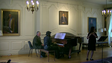 """Photo: Amy Hong, flute, and Anthony Green, piano, performing Amy's arrangement of """"The Flight of the Bumblebee"""" by Rimsky-Korsakov, on October 27, 2013, at Lowell House, Harvard University"""