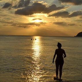 Sunset by Anjsh Lacanlale - Landscapes Sunsets & Sunrises ( friends, nature, sunset, silhouette, beach )