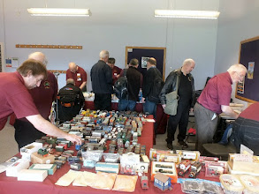 Photo: 020 The 7mm Associetion secondhand goods section, under the control of Bob Cope, seen here in deep concentration behind the stand