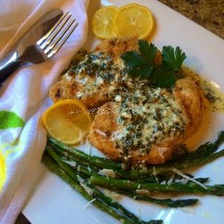 Grilled Italian Swordfish with Lemon Cream and Caper Sauce.