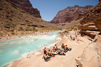 Photo: People enjoying the Little Colorado River while rafting the Grand Canyon. Grand Canyon National Park, AZ.