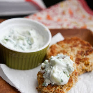 Chickpea Cakes with Cucumber-Yogurt Sauce.
