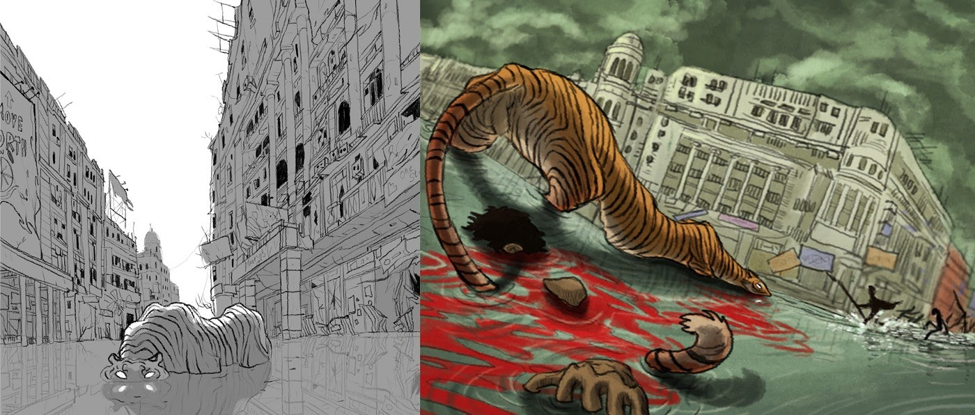 Early concept art of tigers in the city