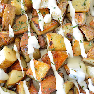 Roasted Potatoes with Creamy Garlic Butter Sauce